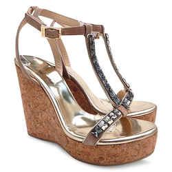 New $757 Jimmy Choo Naima Jeweled Cork Platform Wedge Sandals - Nude - Size 40