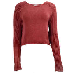 FRAME Ribbed Raglan Sleeve Rusted Berry Sweater