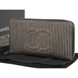 Chanel Striped CC Logo Zippy Wallet Zip Around L-gusset 235935