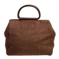 Chanel Brown Woven Raffia Vintage Wooden Handle Tote