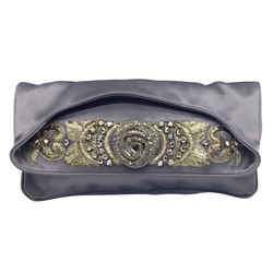 Alberta Ferretti Metal Embellished Grey Satin Clutch