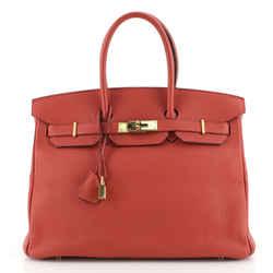 Birkin Handbag Geranium Togo with Gold Hardware 35