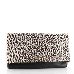 Letters Fold Over Clutch Printed Pony Hair with Leather