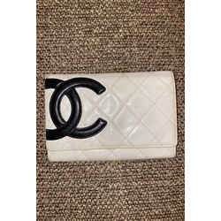 Chanel Cambon Off-White Card Wallet Flap Quilted 12cca64