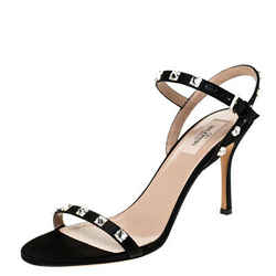 Valentino Black Satin Rockstud Ankle Strap Sandals Size 39.5