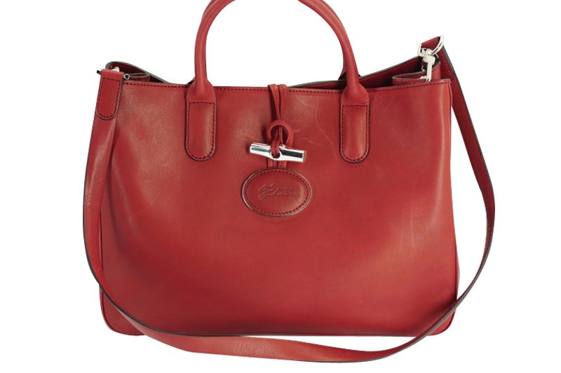 New Longchamp Medium Roseau Heritage Leather Tote Red Crossbody Toggle  Silver