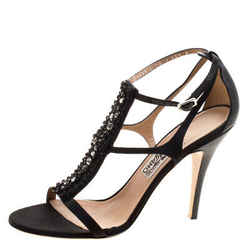 Salvatore Ferragamo Black Embellished Satin and Leather Shine T-Strap Sandals
