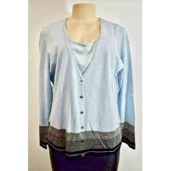 ESCADA Blue Silver Wool Women's Twin Set top Size 46 or 16 On Sale jl