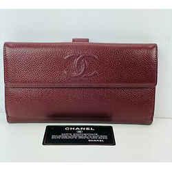 Chanel Cc Logo Long Wallet Clutch Burgundy B151