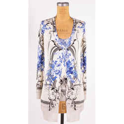 40 NEW $2,045 ROBERTO CAVALLI Ivory FLORAL BAROQUE CARDIGAN & TOP Knit TWIN SET
