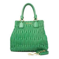 Vintage Authentic Miu Miu Green Matelasse Satchel Turkey