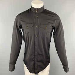 Gucci Size S Black Solid Cotton Nehru Collar Long Sleeve Shirt