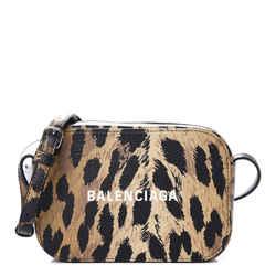 Balenciaga Calfskin Logo Printed Leopard XS Everyday Camera Bag 552372