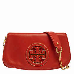 Tory Burch Orange Leather Amanda Logo Crossbody Bag