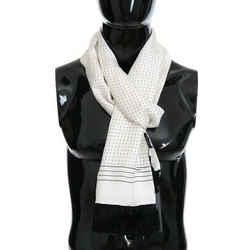 Dolce & Gabbana White Silk Polka Dot Men's Scarf