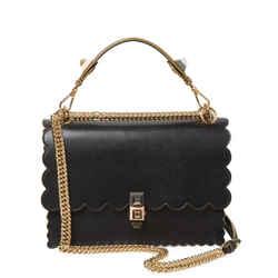 Fendi Kan I Black Calf Leather Silver Chain Studded Shoulder Bag 8BT283