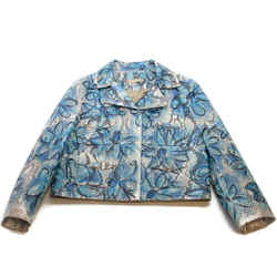 Michael Kors Collection Blue Floral Painted Python Moto Jacket