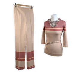 Miu Miu Pink Embellished Co Ord Jumper and Pants Set
