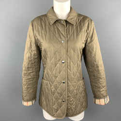 Burberry London Size M Olive Quilted Snap Closure Jacket