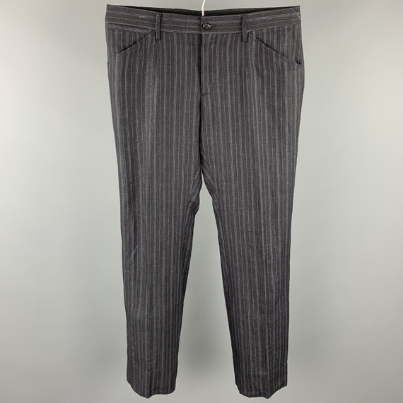 DOLCE & GABBANA Size 34 Charcoal Stripe Linen Casual Pants