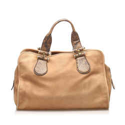 Vintage Authentic Gucci Brown Beige Nubuck Leather Leather Twice Handbag Italy
