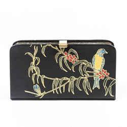 Dries Van Noten Bag Black Painted Bird Black Leather Clutch