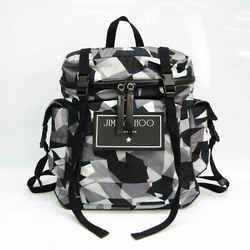 Jimmy Choo WIXON CIN ANTHRACITE MIX Unisex Leather,Nylon Backpack Black BF527364