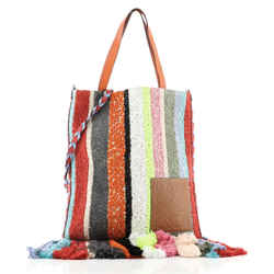 Vertical Fringe Tote Embroidered Canvas and Leather