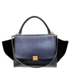 Celine Blue/Black Python and Suede Medium Trapeze Bag