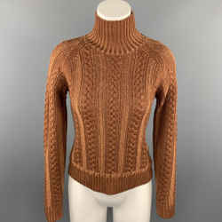 BURBERRY Size M Brown Cable Knit Wool / Cotton High Collar Sweater
