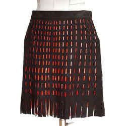 Azzedine Alaia Skirt Suede Cutout Orange Patent Leather Fringe Detail Vintage 4