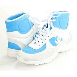 Chanel Suede Calfskin Lambskin High Top CC Sneakers - Blue/White