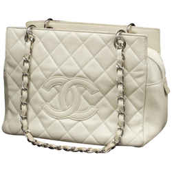 Chanel Off-White Quilted Caviar Petite Shopping Tote 233992