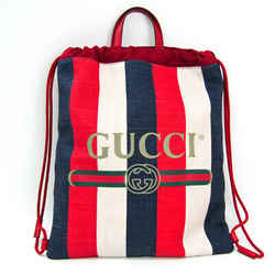 Gucci Print Medium Drawstring Backpack Stripe 473872 Unisex Canvas,Leat BF503335