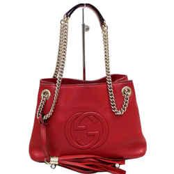 Gucci Soho Chain Mini Tassel Leather Shoulder Bag Red 387043