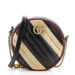 GG Marmont Round Shoulder Bag Diagonal Quilted Leather Mini