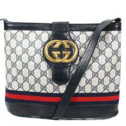Gucci - Web Stripe Gg Monogram Shoulder Bag - Blue Vintage Leather Logo Medium