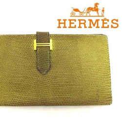Hermes Lizard Bearn Green Hombre Bifold Classic Wallet 165538