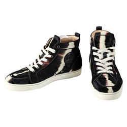 Christian Louboutin Rantus Orlato Flat Mens High Top Pony Hair Sneakers Black/brown