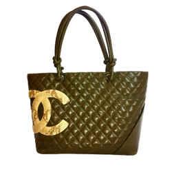 Chanel Green Lambskin Large Ligne Tote Shoulder Bag. So Stylish!