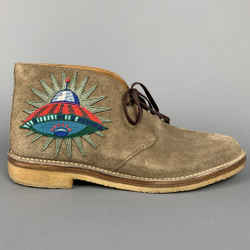 GUCCI Size 11 Taupe Textured Suede Crepe Sole Chukka Boots