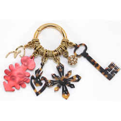 CHRISTIAN LACROIX Bag Charm Red Brown Crystals Gold-Tone HW