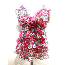ANDREW GN Fuchsia-Pink/Multicolor Floral-Print Silk Tiered Ruffled Halter Blouse