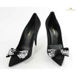 Saint Laurent Woman's Kiki Tile-studded Bow Suede Pumps