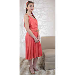 40 NEW $2,395 GUCCI Coral Pink GRECIAN 100% SILK Pleated Skirt Spring MIDI DRESS