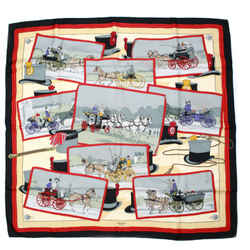 Hermes - 90 Cm Stagecoach Scarf - Postcard Red Black Yellow Horse Top Hat Silk