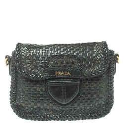 Prada Black/Blue Woven Madras Leather Crossbody Bag