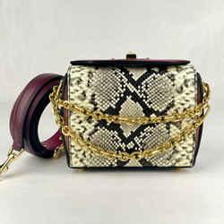 $1890 Alexander Mcqueen Snake Skin Burgundy Leather Box 16 Bag 554127 8490