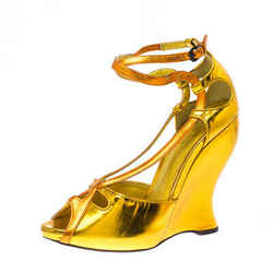 Bottega Veneta Gold Leather Cut-Out Ankle Strap Wedge Sandals Size 38.5