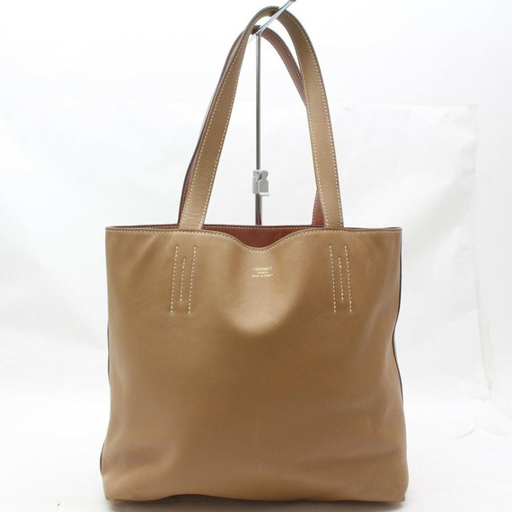 Herms 872343 Brown Double Sens Tote Clemence 38